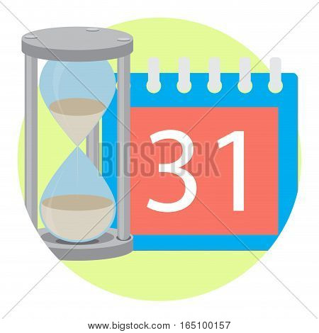Time managment hourglass and calendar. Save time and clock hourglass vector illustration