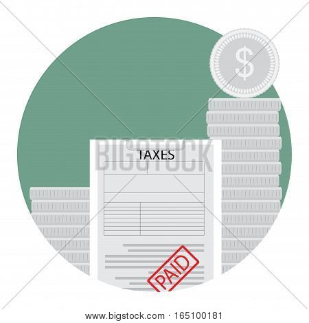 Paid taxes icon. Coin and tax form paper taxation and accounting income vector illustration