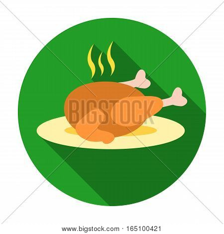 Christmas roasted turkey icon in flat style isolated on white background. Christmas Day symbol vector illustration.