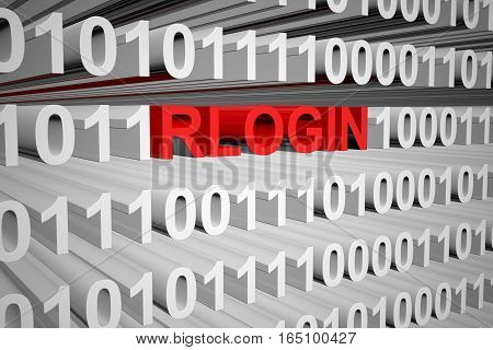 RLOGIN in the form of binary code, 3D illustration
