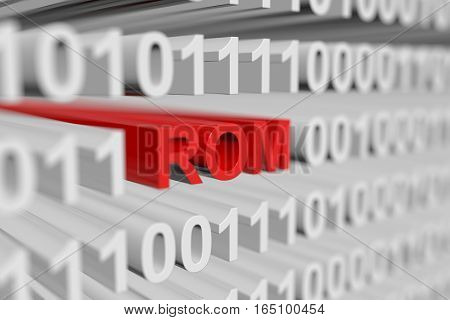 ROM binary code with blurred background 3D illustration