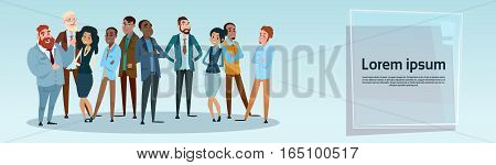 Business People Team Mix Race Businesspeople Group Flat Vector Illustration