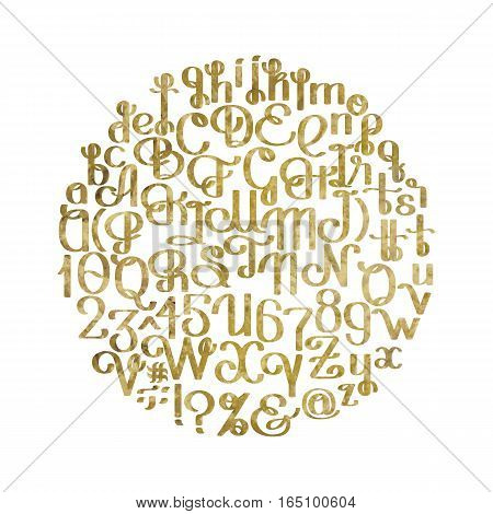 Handwritten calligraphic script. Ornate graphic alphabet. Vector font. Uppercase and lowercase letters and numerals isolated on white background in golden colors