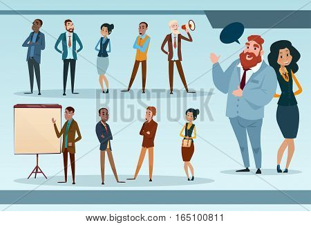 Business People Team Mix Race Businesspeople Group Working Set Flat Vector Illustration