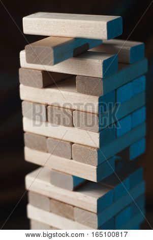 Closeup stack wooden blocks game, educational games for kids