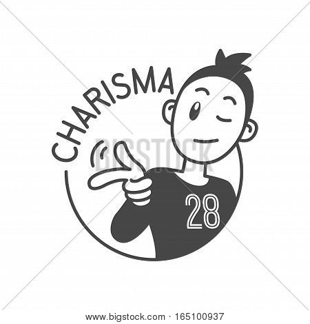 Wink eye and snapping fingers charismatic smiley boy character. charisma high level achievements, vector graphic art shape, retro vintage badge design logo, illustration isolated on white background.
