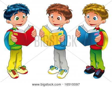 Three boys are reading. Funny cartoon and vector isolated characters
