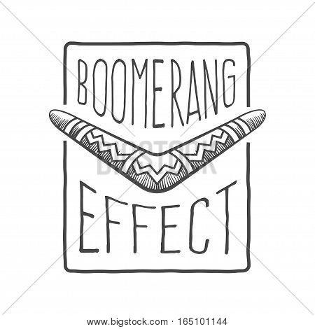 boomerang effect logotype, vector graphic art shape, monochrome retro style badge design, illustration isolated on white background.