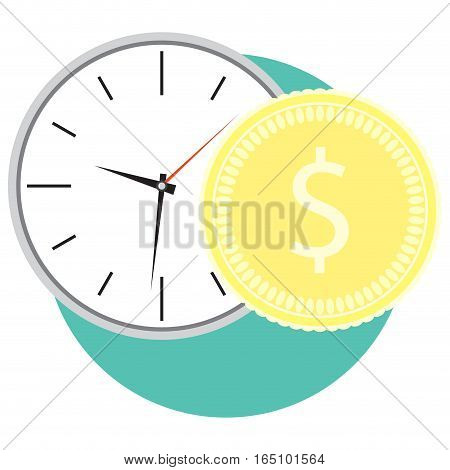 Time and money icon. Clock and golden coin. Vector illustration