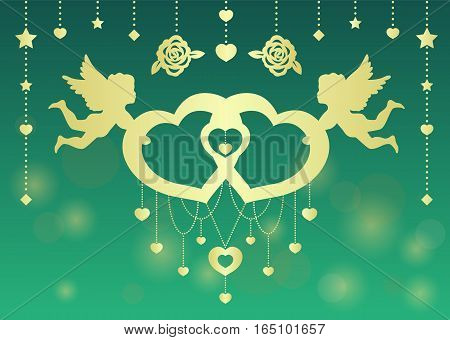 Gold Twins Cupid hold twins heart vector art design for wedding card or valentine's day