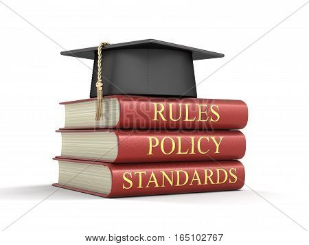 3D Illustartion. Stack of compliance and rules books. Image with clipping path