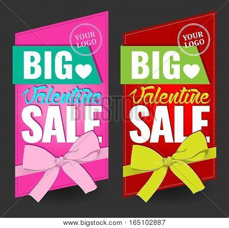 big valentine sale sign for sticker, flayer, card, sign with bow, vector illustration