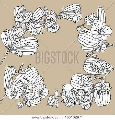 Card with tropic flower - orchid. Can be used for Invitation to the wedding or background. Adult antistress coloring page.