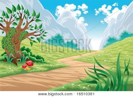 Mountain landscape. Cartoon and vector illustration, isolated objects