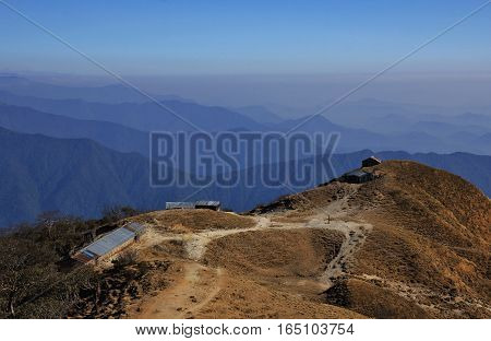 Landscape in the Annapurna Conservation Area Nepal. View from Muldhai hill.
