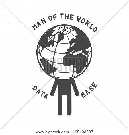 earth man head icon. isolated Vector illustration logo, man of the world