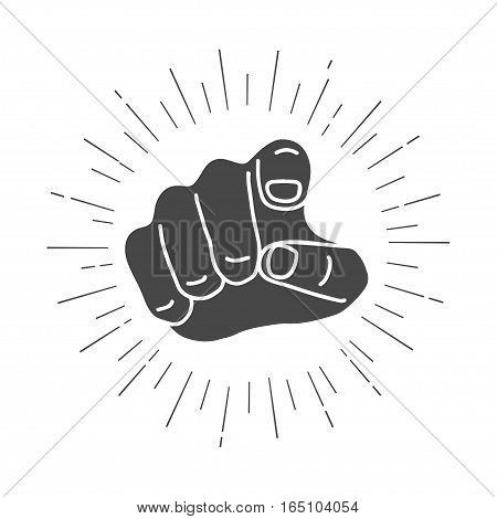Retro human hand with the finger pointing or gesturing towards you. Vintage vector illustration of finger point isolated on white background.