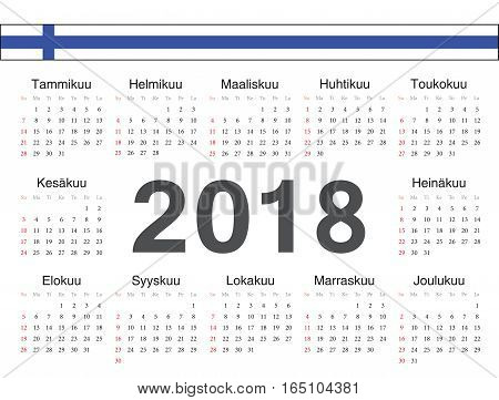 Vector Finnish Circle Calendar 2018
