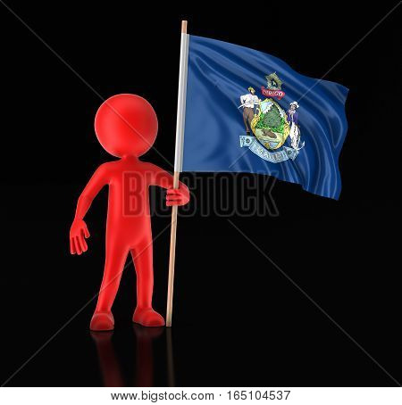 3D Illustartion. Man and flag of the US state of Maine. Image with clipping path