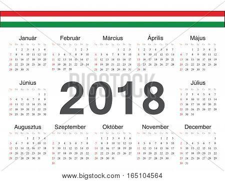 Vector Hungarian Circle Calendar 2018