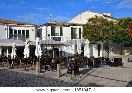 Saint Martin de Re France - september 26 2016 : bar in the picturesque village in autumn