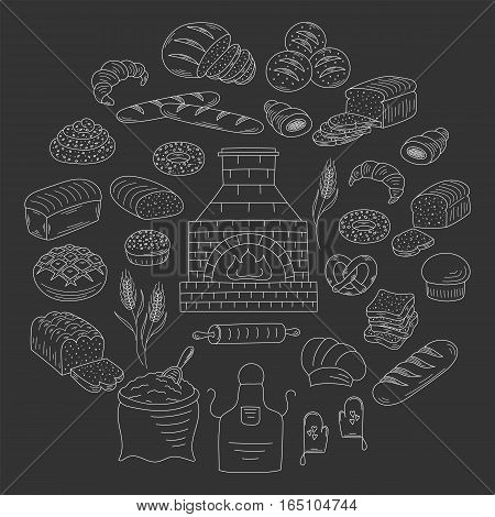 Bakery and pastry collection with various sorts of bread, croissant, pretzel, french baguette, rolls, bagels, old brick oven, flour and wheat. Hand drawn doodle vector illustrations isolated on black