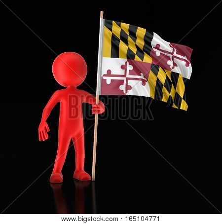 3D Illustartion. Man and flag of the US state of Maryland. Image with clipping path