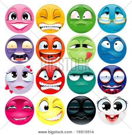 Group of expression. Funny vector and cartoon elements.