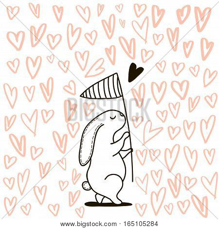 Cute hand drawn Rabbit catching heart with scoop-net.It can be used as a print card postcard. Romantic template for Valentine's day.Vector Illustration