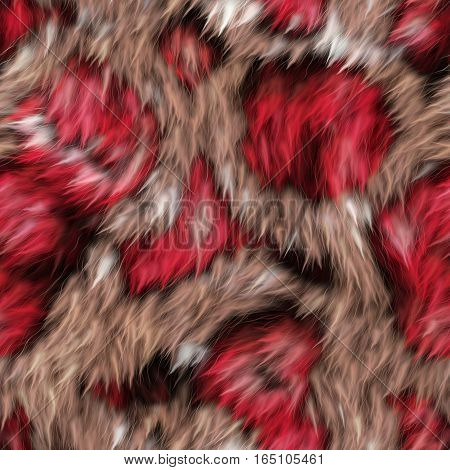A completely seamless soft fur animal print fabric.