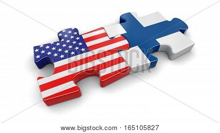 3D Illustartion. USA and Finland puzzle from flags. Image with clipping path