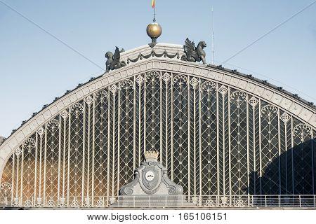Madrid (Spain): facade of Puerta de Atocha railway station