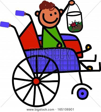 A cartoon childlike drawing of a little disabled boy sitting in a wheelchair and holding up a jar with a bug inside.