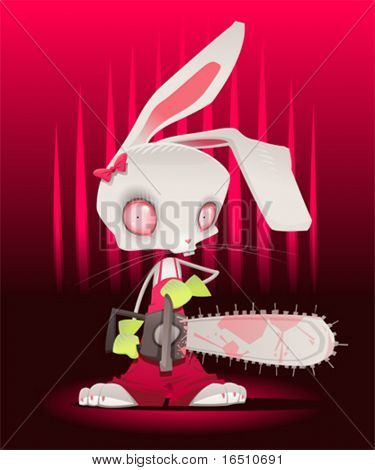 Horror bunny with background. Vector and cartoon illustration.