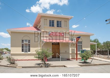 JAGERSFONTEIN SOUTH AFRICA - DECEMBER 31 2016: The Post Office building in Jagersfontein a diamond mining town in the Free State Province of South Africa