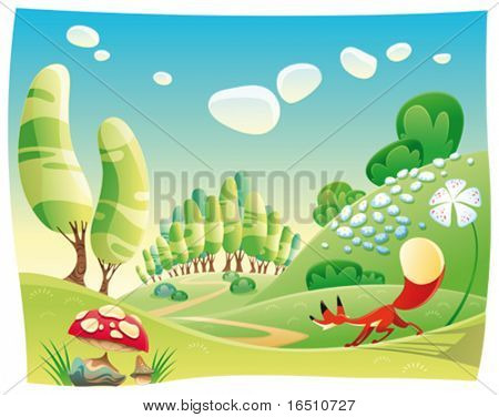 Fox in the wood. Funny cartoon and vector scene.