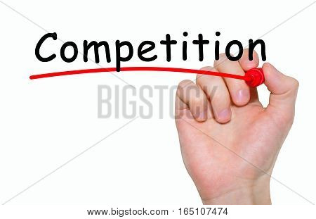 Hand writing inscription Competition with marker concept