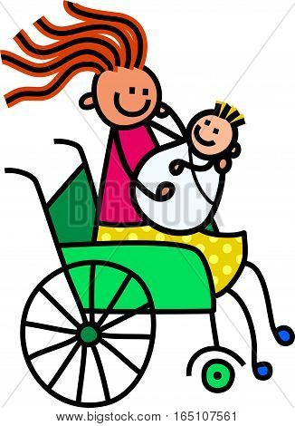 A cartoon childlike drawing of a happy disabled woman sitting in a wheelchair and holding a newborn baby.