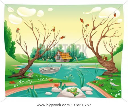 Pond and animals. Funny cartoon and vector illustration