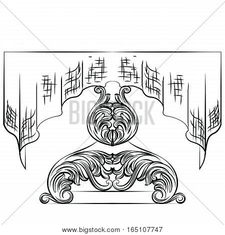 Rich Baroque Table. French Luxury rich carved ornaments with tablecloth decorated furniture. Vector Victorian Royal Style