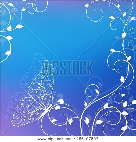 Beautiful natural background with buttetfly sitting on twine plant. White illustration on blue background.