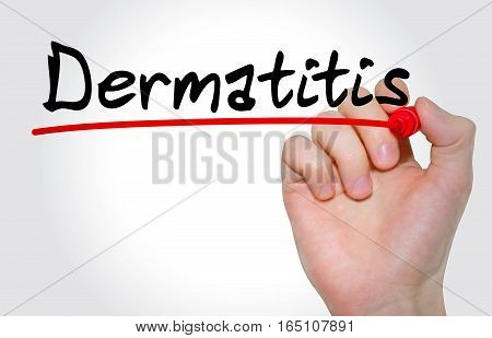 Hand Writing Inscription Dermatitis With Marker, Concept