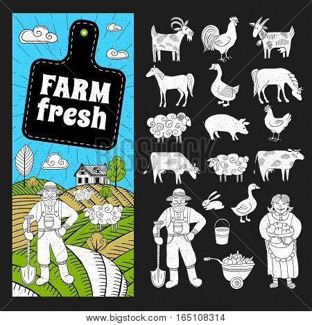 Set of banners in sketch style, farmland, farmers, house, field, animals. Farm fresh logo, blackboard, leaf, horizontal banners. Hand drawn vector illustration.