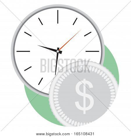 Money and time flat icon vector. Business efficiency and time management illustration