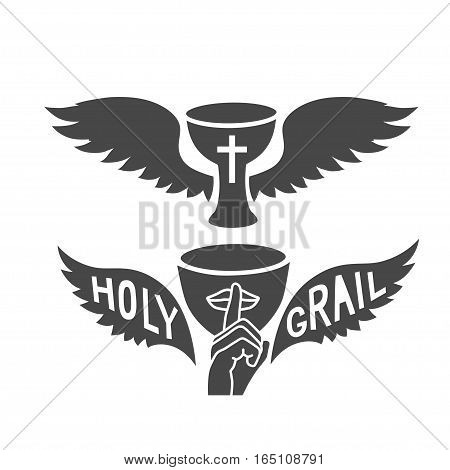 Holy grail with wings, isolated on white background vector graphic art.