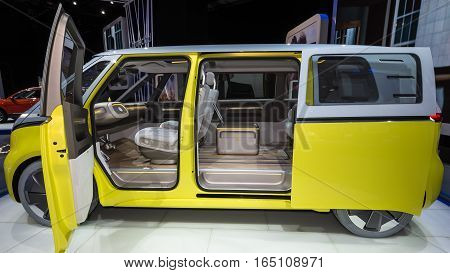DETROIT MI/USA - JANUARY 12 2017: A Volkswagen I.D. BUZZ Concept car at the North American International Auto Show (NAIAS).