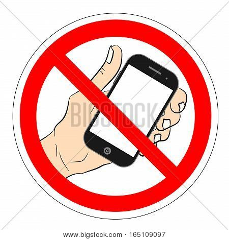 ban phone no mobile cell phone warning sign ban phone icon ban mobile phone vector illustration