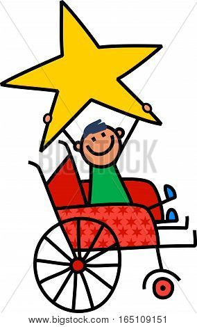 A cartoon childlike drawing of a happy disabled boy sitting in a wheelchair and holding a giant star.