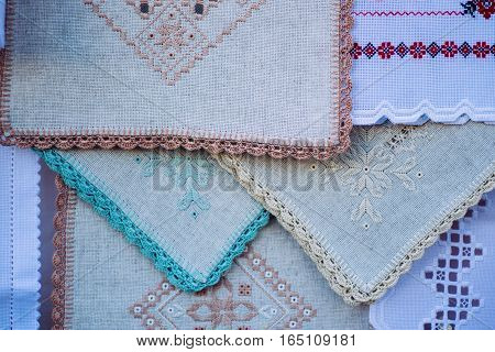 Embroidered fabric  decoration tablecloths and shawls background