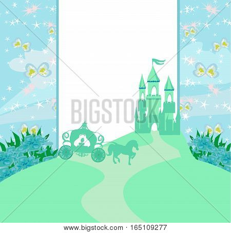 abstract fairy tale frame - carriage and a medieval castle , vector illustration